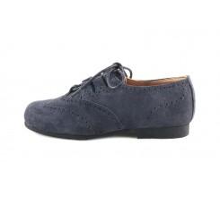 Zapato picado ante gris oscuro con cordón cruzado Jeromín