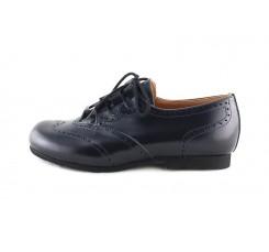 Zapato piel picado brillante azul cordón cruzado Jeromín