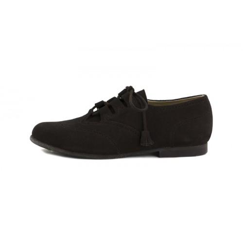 Zapato ante marrón picado cordón cruzado Jeromín