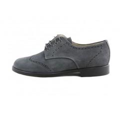 Zapato ingles picado en ante gris con cordón Jeromín
