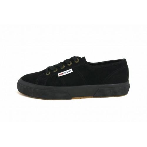 Zapato ante negro con cordón Superga
