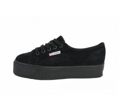 Zapato ante negro con plataforma y cordón Superga