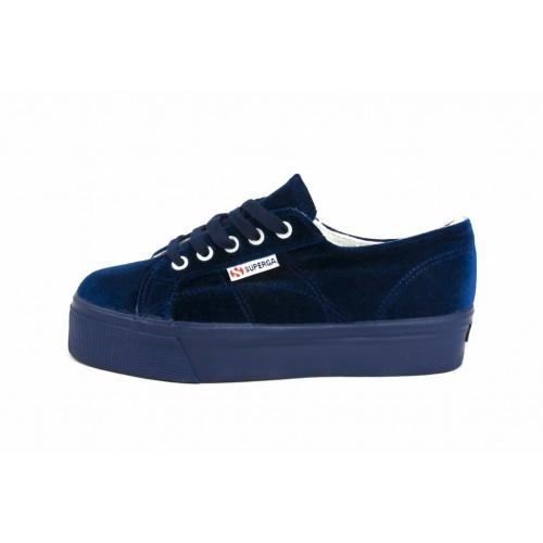 Zapato terciopelo azul con plataforma Superga