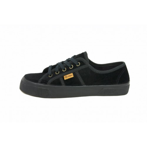 Zapato de terciopelo negro con cordón Natural World