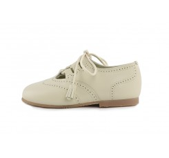 Zapato ingles cruzado piel beige oscuro con cordón Jeromín