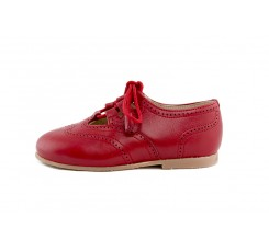 Zapato ingles cruzado piel roja con cordón Jeromín