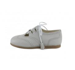 Zapato ingles piel gris con cordón Jeromín