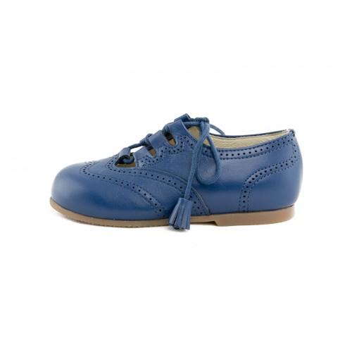 Zapato ingles cruzado piel azulón con cordón Jeromín