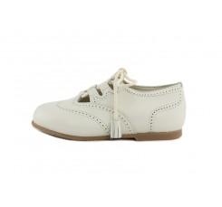 Zapato ingles cruzado piel beige con cordón Jeromín