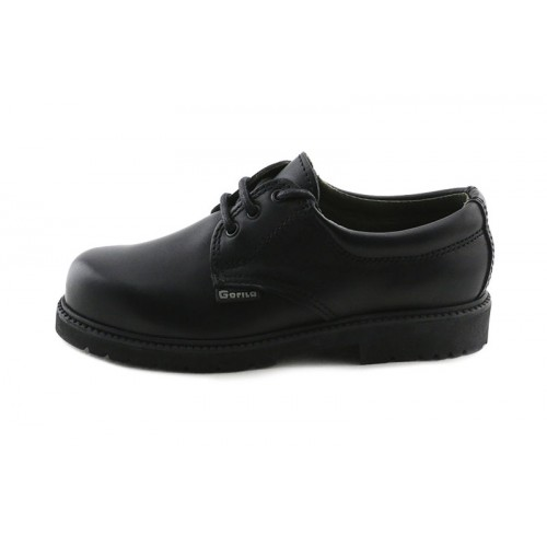 Zapato colegial piel negra con cordón Gorila