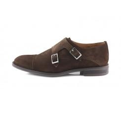 Zapato serraje marrón con costura y doble hebilla Ric.Bel 5075