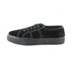 Zapatilla terciopelo negro con lazo Vul-Ladi