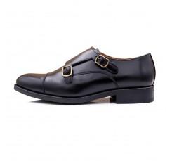 Zapato en piel negro con doble hebilla Jeromín