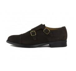 Zapato ante marrón con doble hebilla Jeromín