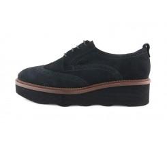 Zapato picado ante negro con plataforma ondulada Jeromin