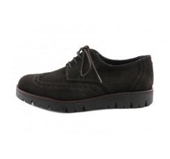 Zapato ante marrón con suela alta y cordon Jeromín