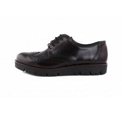 Zapato piel burdeos con suela alta y cordón Jeromín