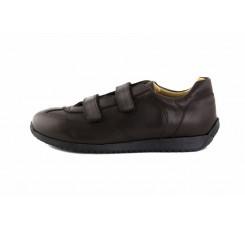 Zapato deportivo piel marrón con velcro Jeromín