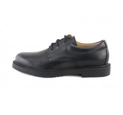 Zapato en piel negro colegial con cordón Jeromín