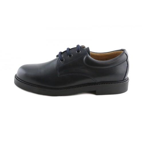 Zapato en piel azul colegial con cordón Jeromín