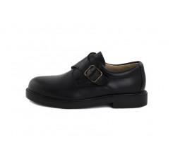 Zapato piel negro con hebilla Jeromín