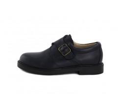 Zapato piel azul con hebilla Jeromín
