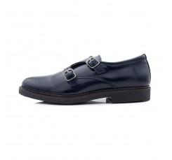 Zapato piel azul con doble hebilla Jeromín