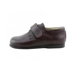 Zapato velcro piel burdeos picado K4290 Jeromín