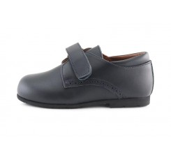 Zapato velcro en piel azul picado K4290 Jeromín