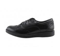 Zapato piel brillante negro picado con cordón Thousand para Jeromín
