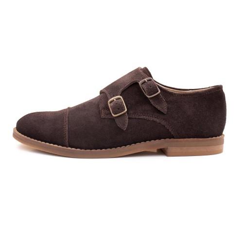 Zapato de ante marrón con doble hebilla femenino Thousand para Jeromin